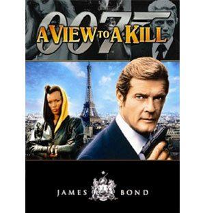 1985-ös poszter a  Halálvágta című James Bond filmről, melyben az Esse tűzhelye a filmvászonra kerül.