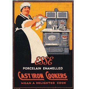1950-es években készült poszter, mely az Esse tűzhelyét reklámozza a kornak megfelelően.